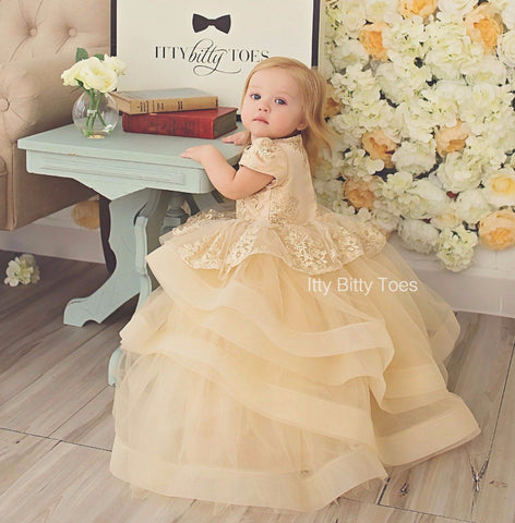 Hadley Dress (Champagne) - Couture - Itty Bitty Toes