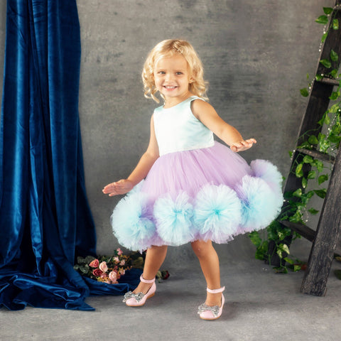 Lucy Dress (Blue & Purple) - Couture - Itty Bitty Toes