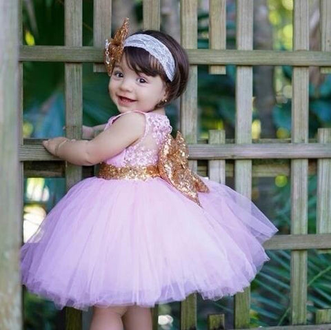 Princess Aisha Dress (Pink & Gold) - Couture - Itty Bitty Toes