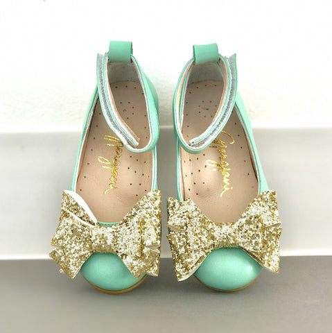 Alba 61 (Mint & Gold) - Shoes - Itty Bitty Toes