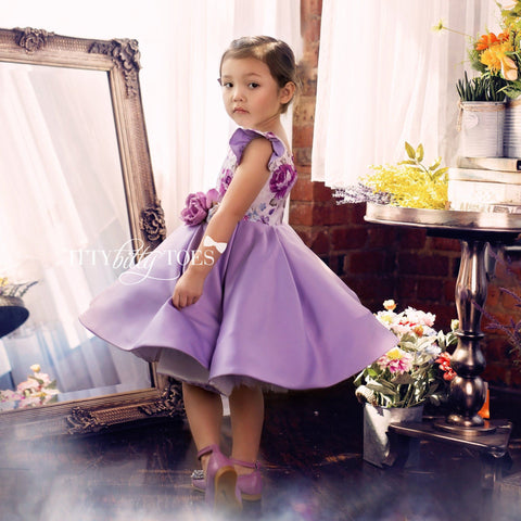 Leila Dress (Purple) - Couture - Itty Bitty Toes