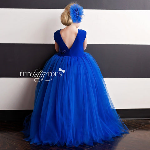 Sasha Dress (Blue) - Couture - Itty Bitty Toes