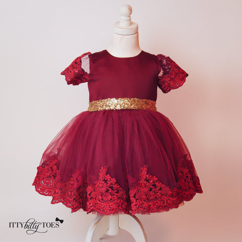 Princess Julia Dress (Burgundy) - Itty Bitty Toes  - 5