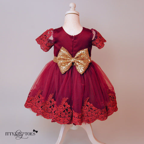 Princess Julia Dress (Burgundy) - Itty Bitty Toes  - 6