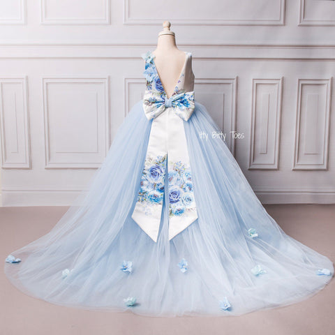 Lili Dress (Blue) - Couture - Itty Bitty Toes