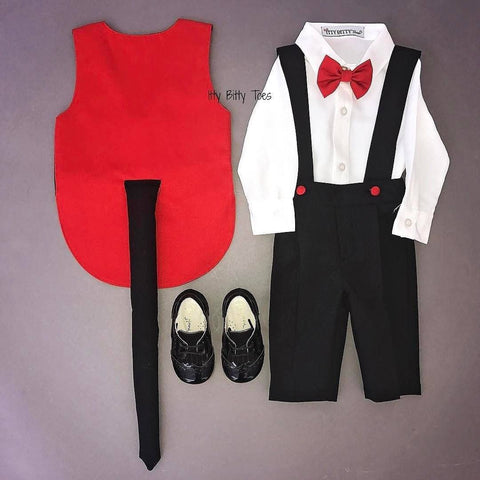 Mickey Inspired Suspenders Set - Couture - Itty Bitty Toes