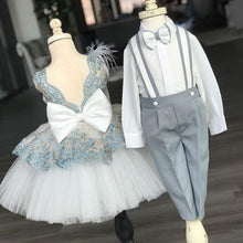 Christiano Suspenders Set (Gray & White) - Couture - Itty Bitty Toes