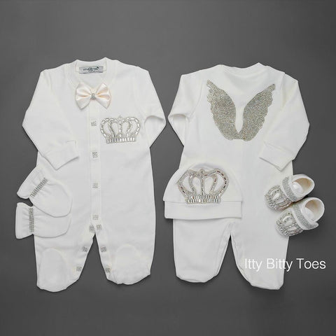 Angel Wings Jewels Set (White) - Newborn Set - Itty Bitty Toes