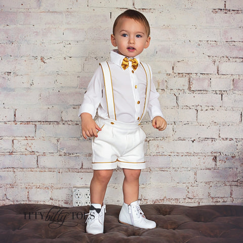Charlie Shorts Set (White & Gold) - Couture - Itty Bitty Toes
