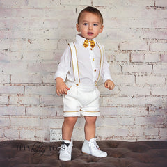 Charlie Shorts Set (White & Gold)