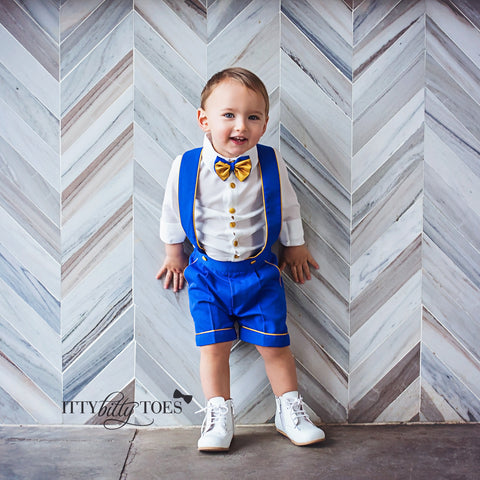 Charlie Shorts Set (Royal Blue & Gold) - Couture - Itty Bitty Toes