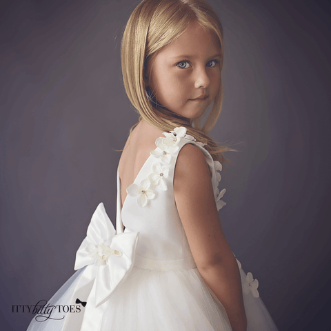 Lili Dress (White) - Itty Bitty Toes  - 3