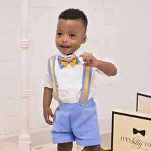 Christiano Shorts Set (Blue & Gold) - Couture - Itty Bitty Toes