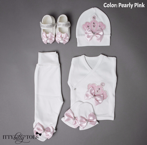 Crown Jewels Set (Pearly Pink) - Newborn Set - Itty Bitty Toes
