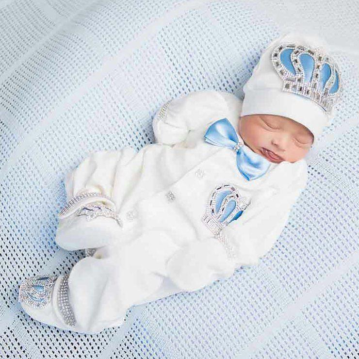 Angel Wings Jewels Set (Baby Blue) - Newborn Set - Itty Bitty Toes