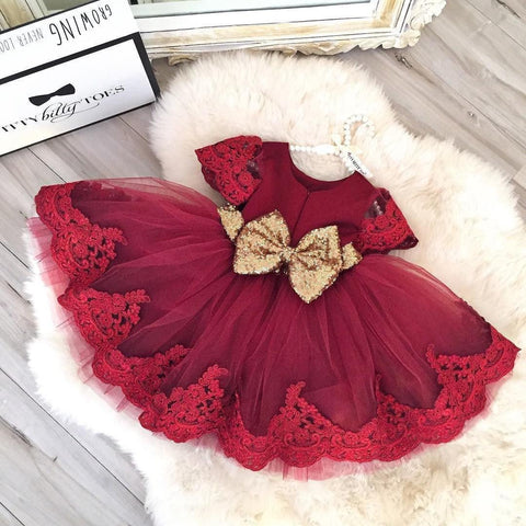 Princess Julia Dress (Burgundy) - Itty Bitty Toes  - 1
