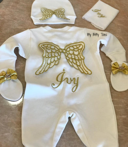 Angel Wings Embroidered Baby Set (Gold) - Newborn Set - Itty Bitty Toes