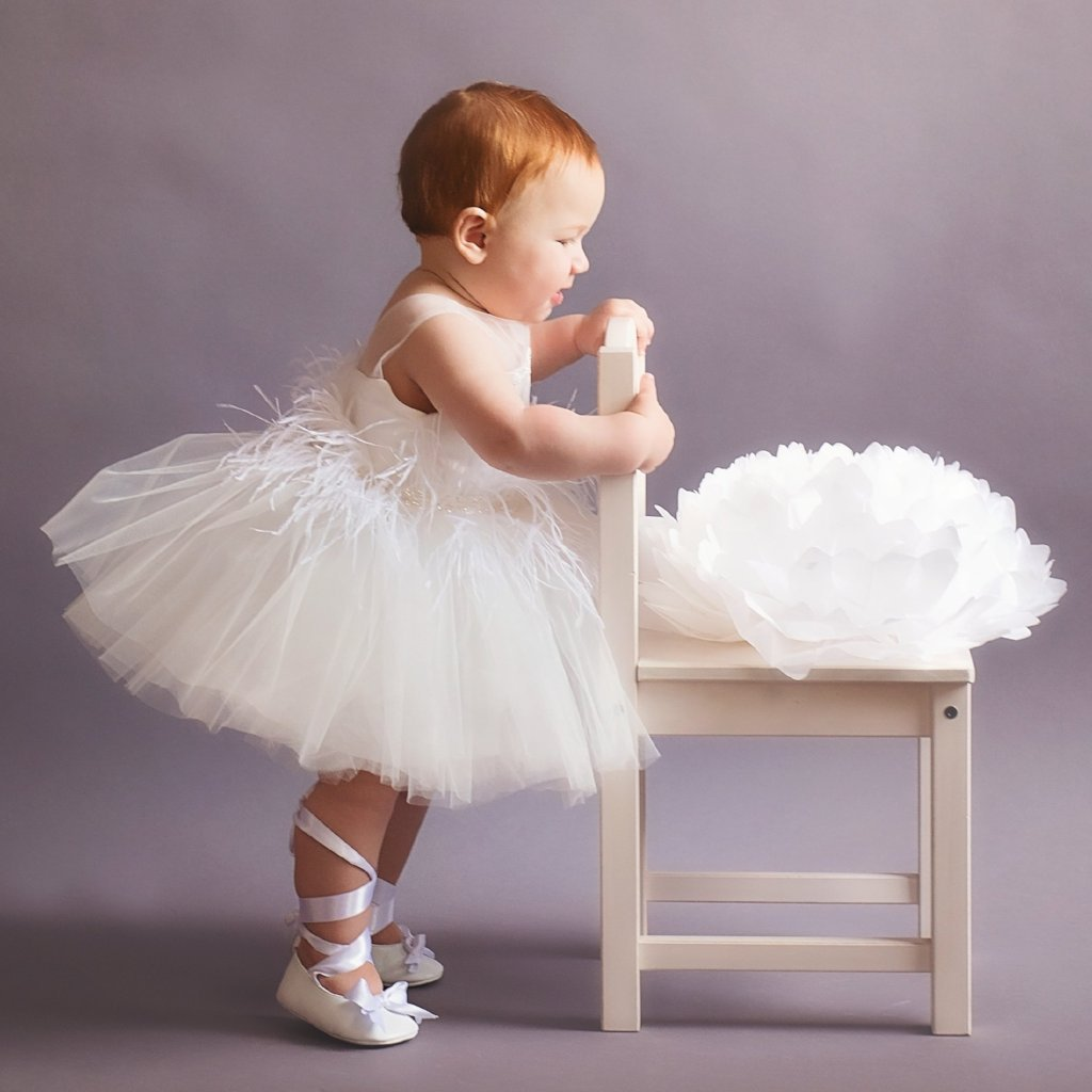 Ivy White Swan Dress - Couture - Itty Bitty Toes