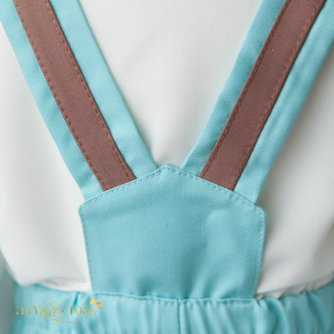 Christiano Suspenders Set (Mint & Brown) - Couture - Itty Bitty Toes