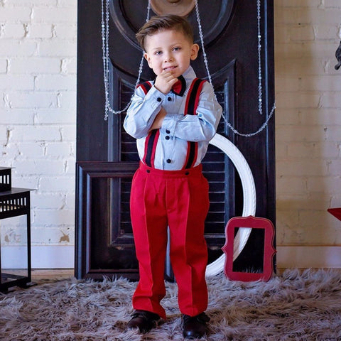 Christiano Suspenders Set (Red, Blue & Black) - Itty Bitty Toes  - 5