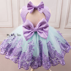 Princess Demi Dress (Teal & Purple)