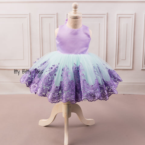 Princess Demi Dress (Teal & Purple) - Couture - Itty Bitty Toes