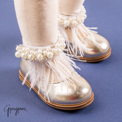 Gigi Gold Feather - Shoes - Itty Bitty Toes