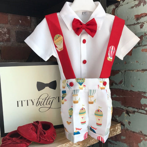 Red Balloon Suspender Set - Couture - Itty Bitty Toes
