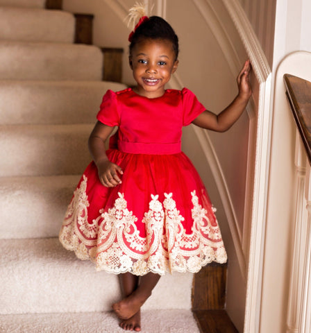 Alexandra Dress (Red) - Couture - Itty Bitty Toes