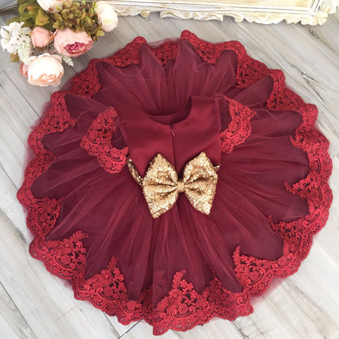 Princess Julia Dress (Burgundy) - Itty Bitty Toes  - 3