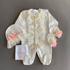 Lace Embroidered Baby Set