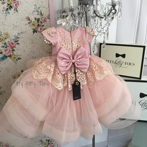 Hadley Dress (Blush) - Couture - Itty Bitty Toes