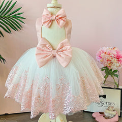 Princess Demi Dress (White & Blush)
