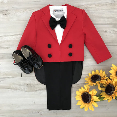 Charles Suit (Red & Black) - Couture - Itty Bitty Toes