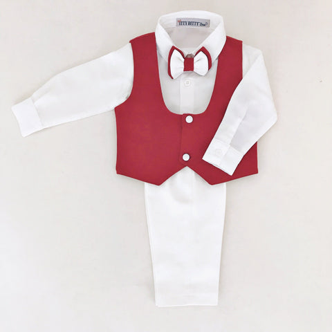 William Vest Set (Burgundy) - Couture - Itty Bitty Toes