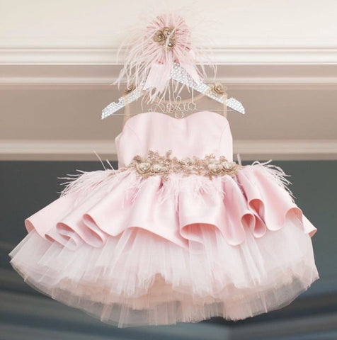 Ivy Blush Swan Dress - Couture - Itty Bitty Toes