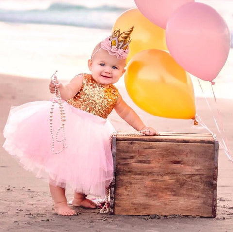 Princess Kate Dress (Gold & Pink) - Couture - Itty Bitty Toes