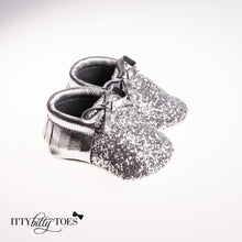 Sparkly Moccs (Silver) - Shoes - Itty Bitty Toes
