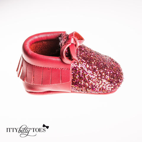 Sparkly Moccs (Red) - Shoes - Itty Bitty Toes