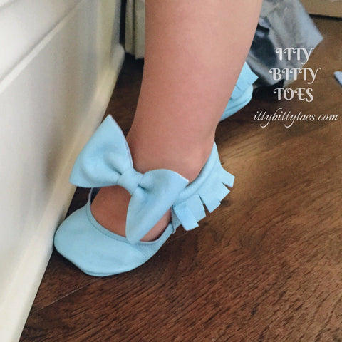 Itty Bitty Moccasins (Baby Blue)