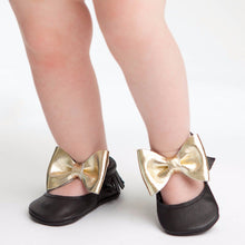 Itty Bitty Moccasins (Black & Gold Bow) - Shoes - Itty Bitty Toes