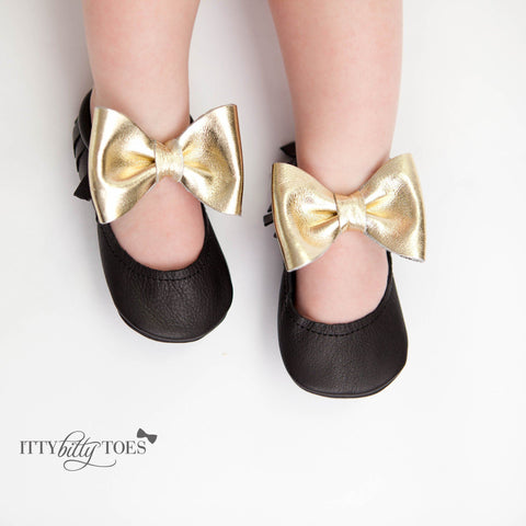 Itty Bitty Moccasins (Black & Gold Bow) - Itty Bitty Toes  - 2