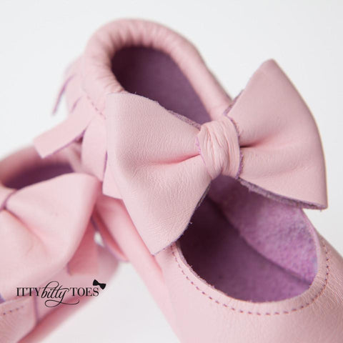 Itty Bitty Moccasins (Pink) - Shoes - Itty Bitty Toes