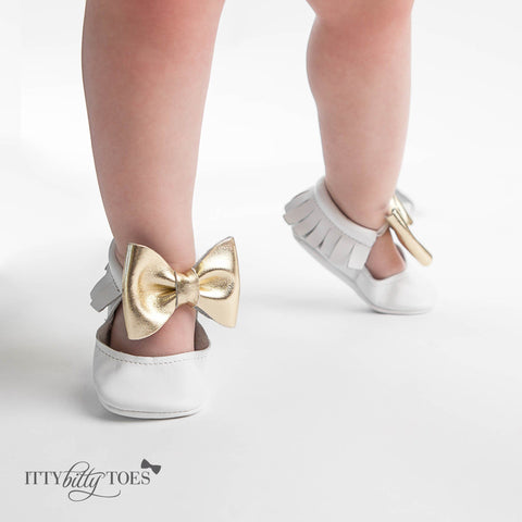 Itty Bitty Moccasins (White & Gold Bow) - Shoes - Itty Bitty Toes