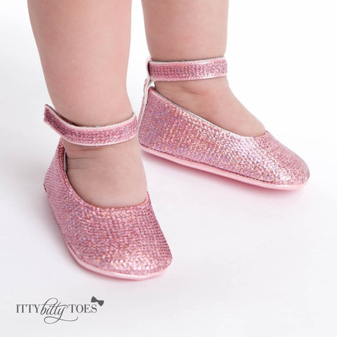 Pink Sequin Ankle Strap Sandals - Itty Bitty Toes  - 1
