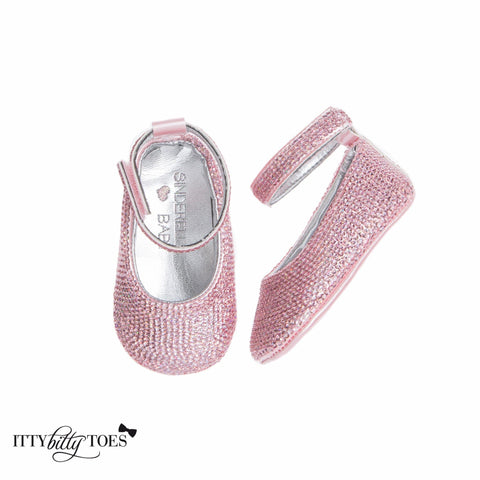 Pink Sequin Ankle Strap Sandals - Itty Bitty Toes  - 2