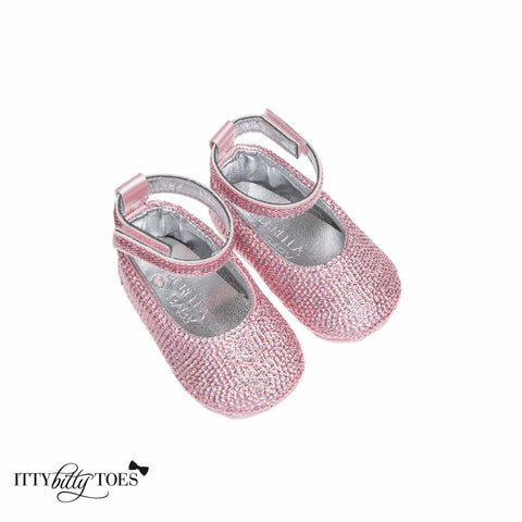 Pink Sequin Ankle Strap Sandals - Itty Bitty Toes  - 3
