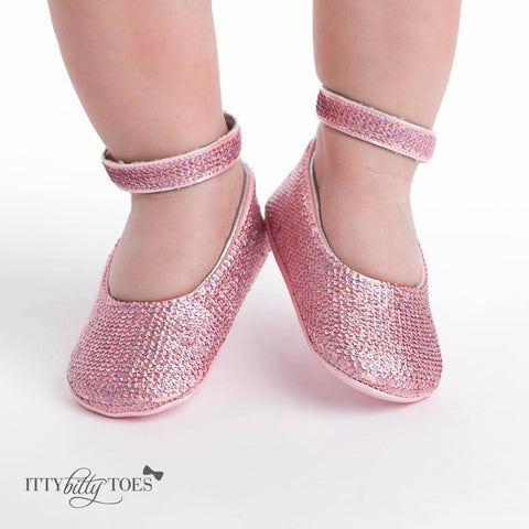 Pink Sequin Ankle Strap Sandals - Itty Bitty Toes  - 5