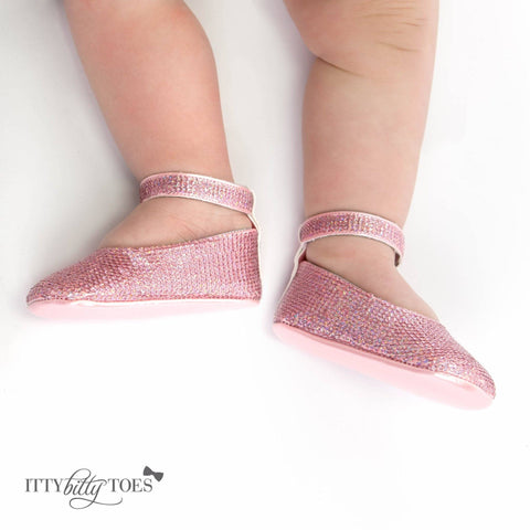 Pink Sequin Ankle Strap Sandals - Itty Bitty Toes  - 6