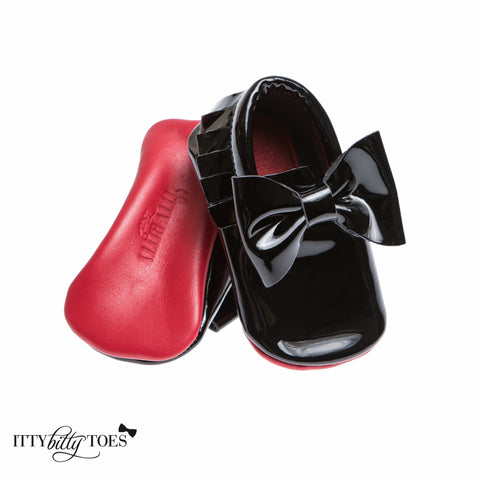Red Bottom Moccs (Black Bow)